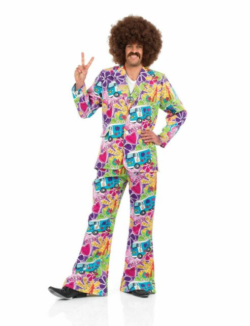 Mens 60s Hippie Shirt 70s Fancy Dress Costume Flower Summer of Love S M L XL XXL