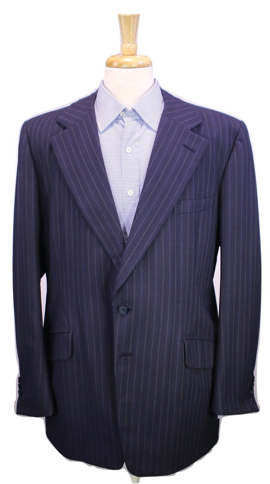 HAWES & CURTIS  Bespoke Handmade Navy bluee Striped 2-Btn Wool Suit Blazer 44L