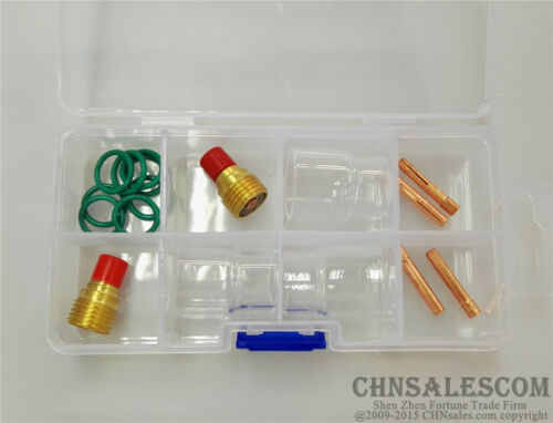 """15 pcs TIG Welding Torch Gas Lens #12 Pyrex Cup Kit  for WP-9//20//25 Series 1//8/"""""""