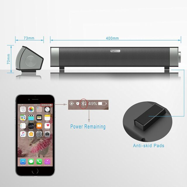 Togetherone Wireless Bluetooth Sound Bar Speakers With Nfc 24 Hour Playtime In