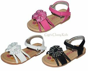 Image is loading New-Baby-Toddler-Girls-Sandals-Black-Fuchsia-White-
