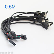 1pc 50cm 2 Port USB A Female to Internal 2x5 way  9 Pin Header Adapter Cable