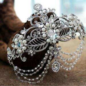 Vintage-Wedding-Bridal-Crystal-Pearl-Headband-Queen-Crown-Tiara-Hair-Accessories