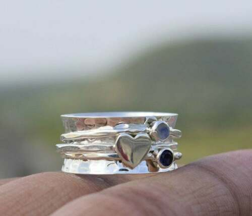 Details about  /Moonstone Spinner Ring 925 Sterling Silver Band Jewelry Handmade All Size z-10