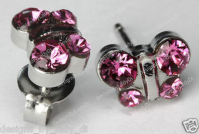 Butterfly Stud Earrings Pink October Crystal Studex Sensitive Stainless Steel