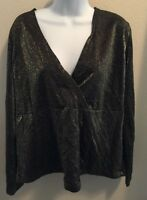 Women's Venezia Jeans Clothing Co. Blouse Size 18/20 Metallic Long Sleeves