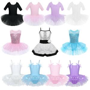 Girls-Kids-Ballet-Tutu-Dance-Dress-Gym-Leotard-Skirt-Ballerina-Dancewear-Costume