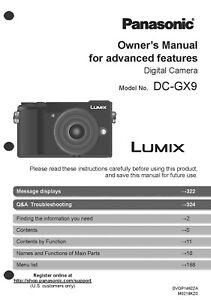 Details about Panasonic Lumix DC-GX9 Advanced Camera User Guide Instruction  Manual