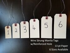Wired Manila Tag Reinforced Inventory Shipping Hang Label Stock Size 1 2 3 4 5 6