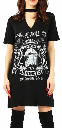 Donne lungo Kings of the Road Rock N Roll Stampa Grande Top Scollo A V T-shirt