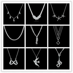 18-Types-European-Women-925Sterling-Silver-Solid-Silver-Pendant-Chains-Necklace