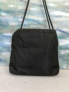 e31471800fe5  595 PRADA Black Nylon Tote Shoulder Bag Front Pocket Open Top SALE ...