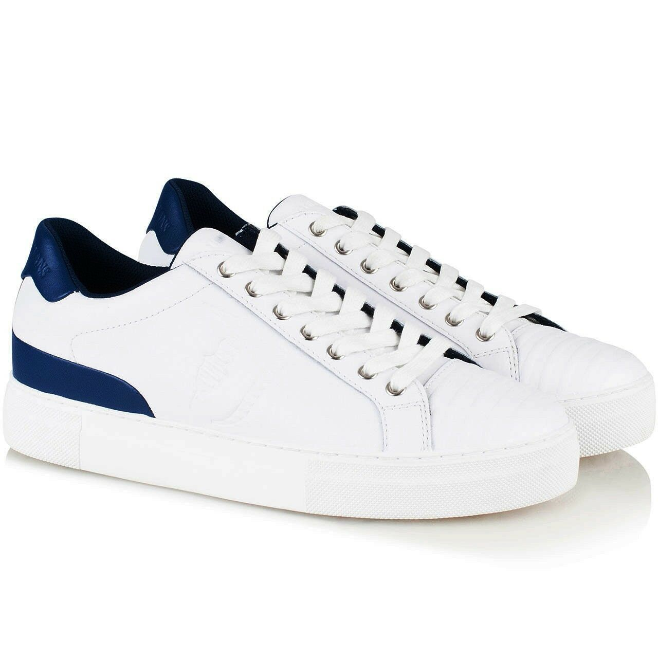 TRUSSARDI Jeans Sneakers men EU 44 Optical White blue Navy 100% Pelle List