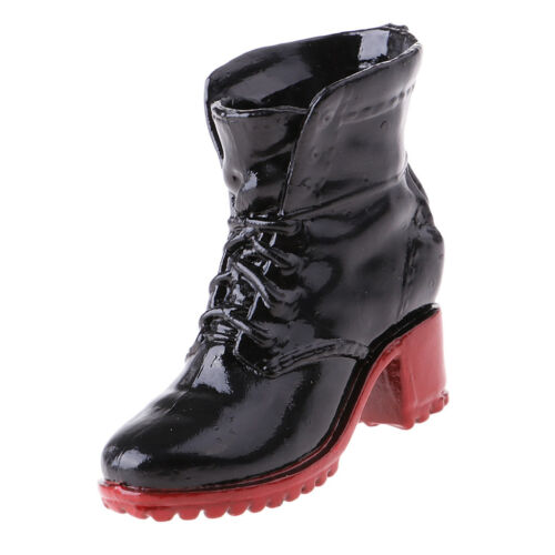 1//6 Female Action Figure Accessory Combat Boots for Phicen Hot Toys Black