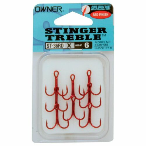 Owner Stinger ST-36BC Trebles in Black Chrome or Red in Sizes 20 to 3//0