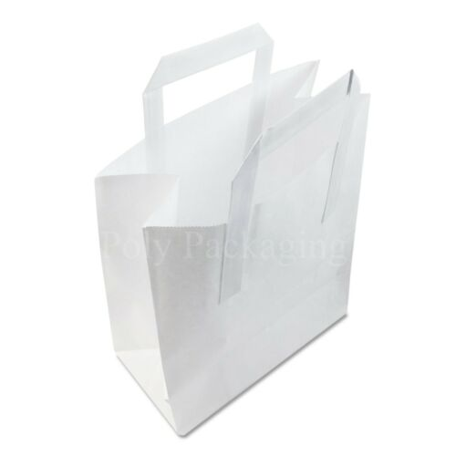"8x4x10/"" 50 x Medium WHITE PAPER CARRIER BAGS with HANDLES Sandwich//Lunch//Food"