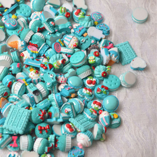 10Pcs Blue Blessing Bag Mixed Lot Cute Resin Food Candy DIY Craft Collection ES