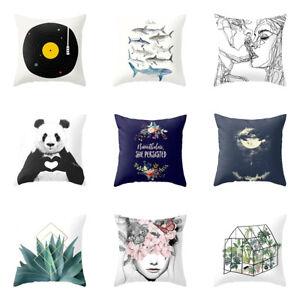 Am-KE-BG-KE-Simple-Shark-CD-Panda-Cushion-Cover-Case-Cafe-Home-Hotel-Pillow