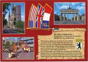 AK BERLIN 50 Jahre Luftbrücke, Fahnen der  Alliierten nach der Blockade 1948/49