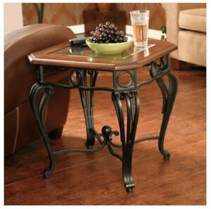 Image Is Loading Wood And Metal Side Table End Wrought Iron