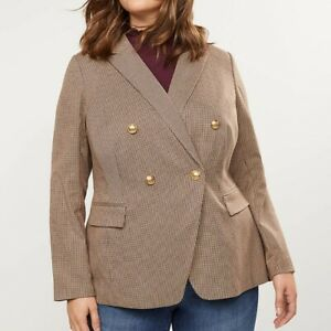 Lane-Bryant-Plus-Size-Womens-Plaid-Double-Breasted-Blazer-Brown-Houndstooth-NWT