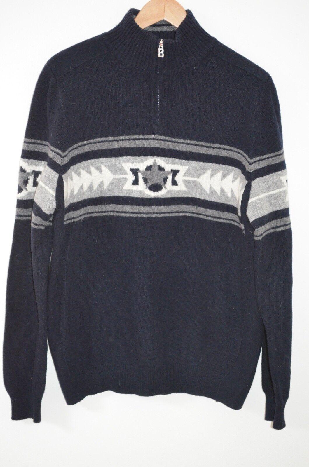Bogner Navy bluee Nordic Print 1 2 Zip Long Sleeve 100% Wool Size L