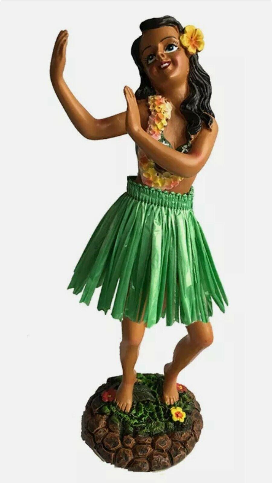 "Image 1 - Hawaiian Dashboard Hula Girl Doll Dancing Pose Green Skirt 7"" Wiggles Upper Body"