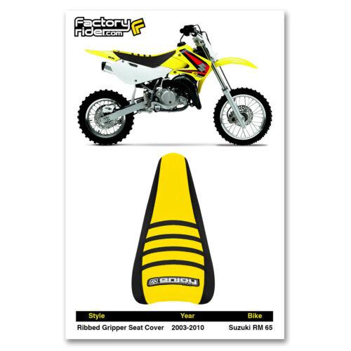 2003-2010 SUZUKI RM 65 SEAT COVER Ribbed  Black//Yellow//Black Ribs by Enjoy MFG