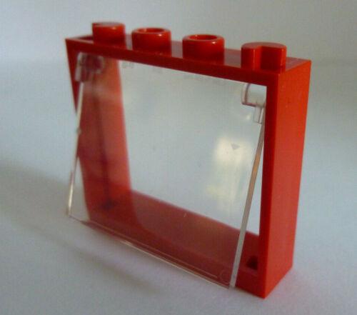 1 x LEGO® 60594 City,Fenster mit Glas Klappfenster,klar 1x4x3 in rot Neuware