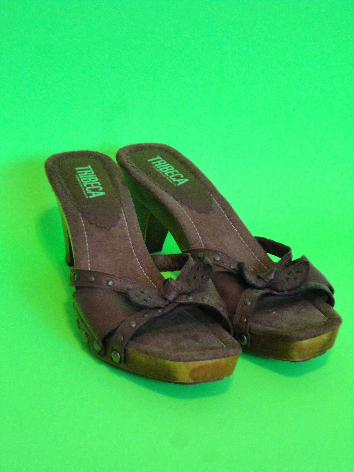 TRIBECA {Size 10} Wood Brown Leather Upper Slip VERY On Sandal High Heel VERY Slip NICE! 5d1677