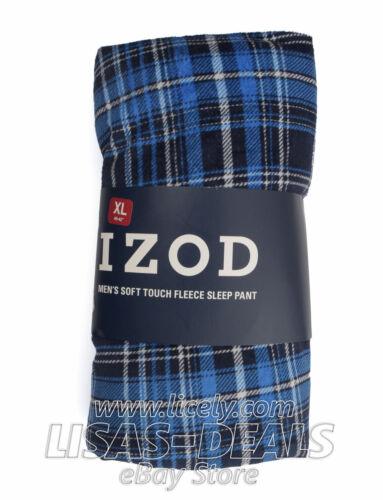 Mens IZOD Soft Touch Plush Fleece Sleep Pant Drawstring Blue Red Plaid XL 2XL