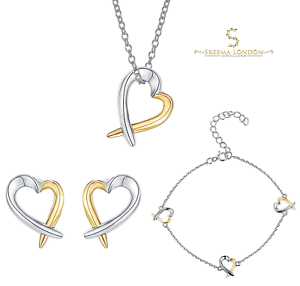 3fe0427bfa1c Plata de Ley 925 2-tone Corazón Juego Chapado en Oro 3 Piezas Set de ...