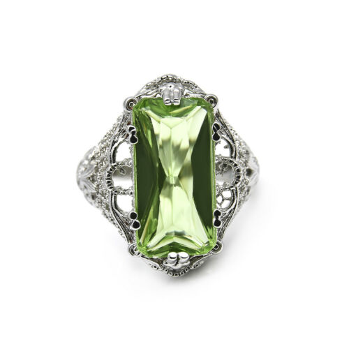 Turkish Emerald Topaz Vintage Carved Patterned Ring Valentines Women/'s Gift