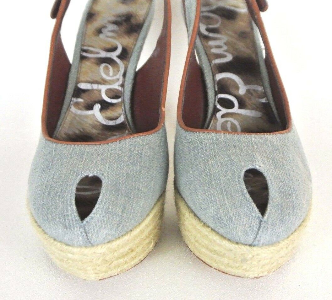 Sam Edelman Novato Slingback Heels 8M Denim Stiletto Canvas Peep Toe Stiletto Denim Platfo1008 37d5f3