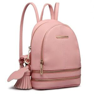 03a5548b08 New Ladies Pink Stylish PU Leather Laptop iPad Womens Backpack Girls ...