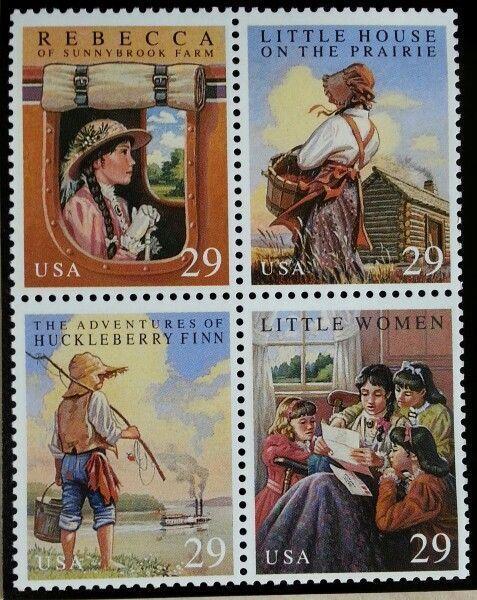 1993 29c Children's Classics, Huckleberry, Block of 4 S