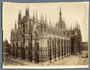 100% De Qualité Italie, Milano, La Cattedrale Dal Palazzo Reale Vintage Albumen Print. Tirag DernièRe Mode