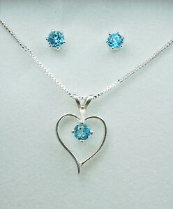 Genuine-Gemstone-Heart-Necklace-amp-Earrings-Set-S-Silv
