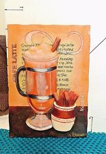 """Decorative Wall Plaque, """"Cafe Latte"""", Coffee Themed Design, Signed ,Durham"""