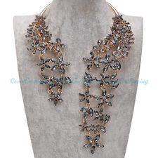 Fashion Jewelry Chain Black Acrylic Choker Chunky Statement Pendant Bib Necklace