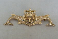 VINTAGE SIGNED CAROLEE PAVE-SET CRYSTAL BLUE RHINESTONE DOUBLE FISH CROWN PIN