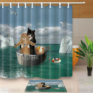 Image Is Loading Romantic Cat Polyester Waterproof Bathroom Shower Curtain Amp
