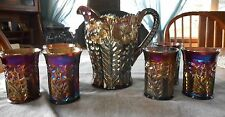 RARE IMPERIAL AMETHYST CARNIVAL GLASS TIGER LILY PATTERN 7 PC WATER SET