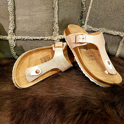 Damen Bio Pantolette Zehensteg Sandaletten Schuhe Gizeh Kupfer Bronce Platin Erfrischung