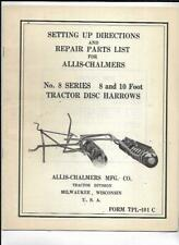 Allis Chalmers No 8 Series Tractor Disc Harrows Setting Up Directions Manual