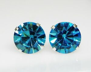 (3mm-10mm) Crystal Aquamarine Sterling Silver Earrings Using Swarovski Elements