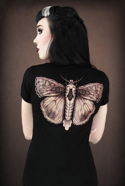 Restyle T-Shirt Steampunk Motte Flügel moth Gothic Wings Brown Fantasy WGT RS47