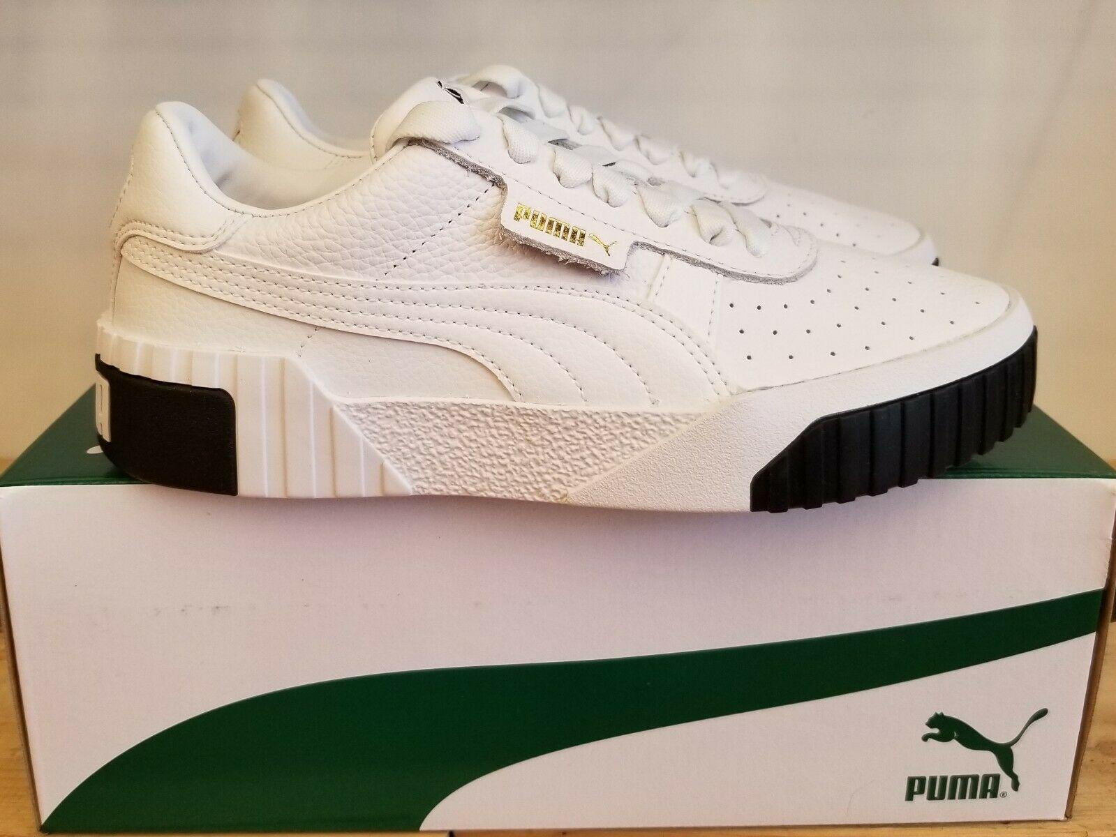 NEW IN THE BOX PUMA CALI WHITE BLACK 36915504 SHOES FOR WOMEN