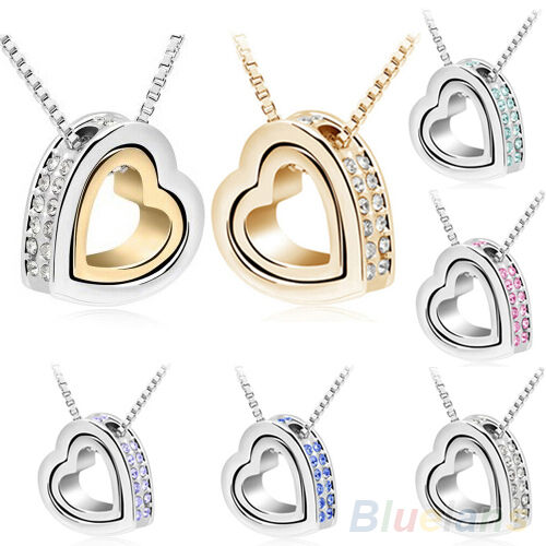 Womens Love Heart Crystal Pendant Clavicle Necklace Fashion Jewelry Silver Gold