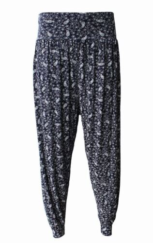 NEW WOMEN LADIES PRINTED HAREM ALI BABA PANTS TROUSERS BOTTOMS CUFFED BAGGY 8-26